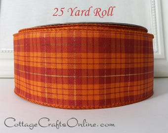 "Fall Wired Ribbon, 2 1/2"" Orange, Brick Red, Gold Metallic Plaid - Twenty Five Yard Roll -  ""Lush"" Thanksgiving Wire Edged"