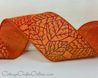 "Fall Wired Ribbon, 2 1/2"", Red, Cranberry, Green Leaf, Orange Faux Linen - THREE YARDS - Offray ""Brisk"" Thanksgiving Wire Edged Ribbon"