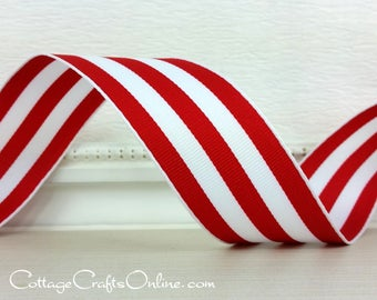 """Wired Ribbon, 1 1/2"""" , Red and White Stripe - THREE YARDS - Offray """"Carnival Red"""", Grosgrain Style, Christmas Wire Edged Ribbon"""