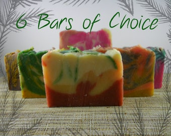 6 Bars of YOUR CHOICE Natural Goat Milk or Vegan Handmade Soap, FREE Shipping!
