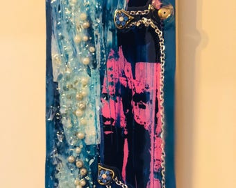 Abstract Resin Art | Blue and pink anchor painting | mixed media original painting | Resin art