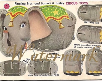Vintage Ringling Bros and Barnum & Bailey Circus Toy Cut out Digital Download Printable Image for DIY Jumbo Elephant