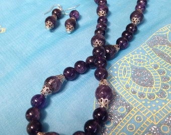 Amethyst Beaded Necklace and Earrings