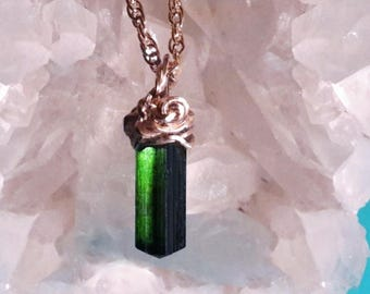 Green Tourmaline Necklace 14K gold filled PROSPERITY & COMMUNICATION Crystal Healing Gems and Minerals  Mineral Jewelry