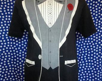 1980's tuxedo t-shirt, fits like a roomy medium or slim large