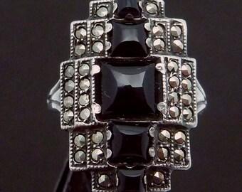 Vintage 1920s Uncas Art Deco Sterling Silver Black Onyx Marcasite Ring 23044