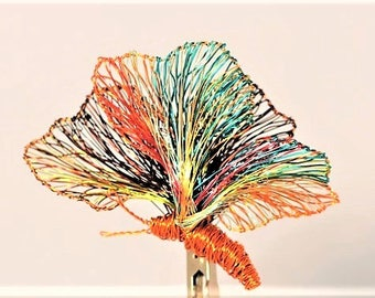 Colorful Butterfly brooch Orange yellow Large brooch Wire sculpture Art teacher gift women Insect Hippie Rainbow jewelry Winter coat brooch