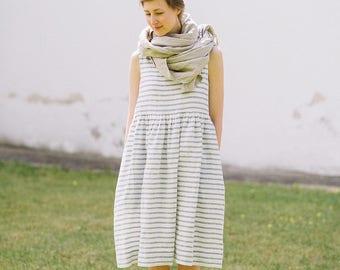 Maternity Dress, Linen Tunic Dress, Linen Tank Dress, Striped Linen Dress, Linen Oversized Dress, Festival Clothing Nautical Dress