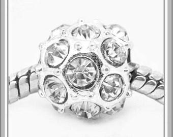 Simply Beautiful - Clear Crystals - APRiL Birthstone - DIAMoND - Rhinestone Charm Bead -  fits European Bracelets - MG-2229-B
