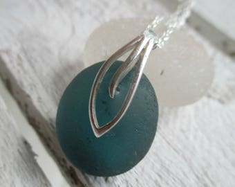 Teal Sea Glass Sterling Silver Necklace
