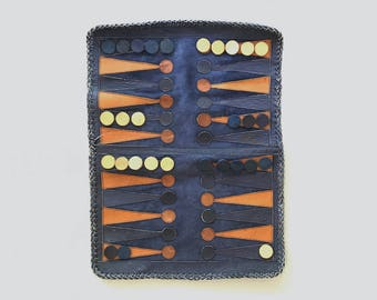 Vintage Handmade Leather / Suede Backgammon Game Travel Set As-Is