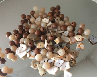 SALE: Brown Cream Neutral Plastic Beads