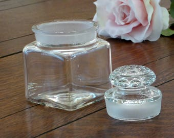 "Vintage Apothecary Small Square Clear Glass Storage Jar & Lid, Small 3"" Square Apothecary Jar with Heavy Glass Lid (IB)"