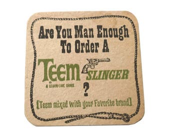 Vintage TEEM Slinger Drink Coaster Are You Man Enough ? Lemon Lime Soda Pop by Pepsi Mixed Drink Hint Chipboard Coaster 1970's Man Cave Bar