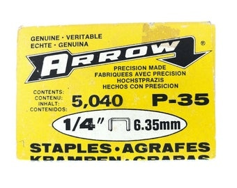 "Arrow Staples P35 P-355 P-35 Plier Staples 1/4"" 6.35 mm Box of 5040 For Plier Stapler NOS Staples Vintage Office Supplies Craft Supply"