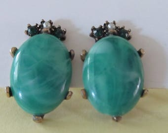 Vintage Green Selro Earrings with Tiny Pearl Accents - Screw-on