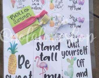 Summer sticker pack| sticker set| summer stickers| hand lettered sticker| notecards| bookmark| journaling card| encouragement card| gift tag