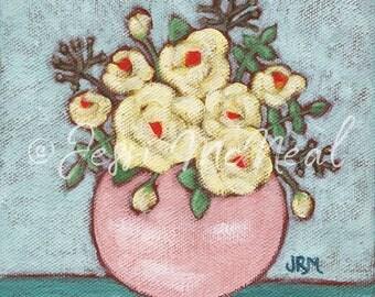 Bungalow Bouquet Print - Farmhouse Painting, Farmhouse Decor, Rustic Painting, Country, Floral Painting