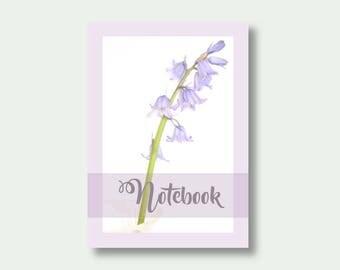 A6 Flower Notebook, Pretty Journal, Floral Notebook, Flower Journal, Bluebell Note Book, Gift For Gardener, Note Book
