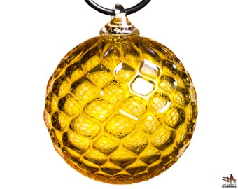 Hand Blown Glass Ornament - Transparent Gold with Diamond Pattern