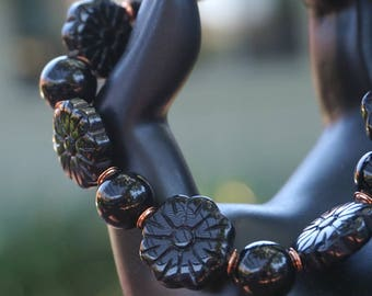 Carved Onyx Flower Beads with Copper Bracelet
