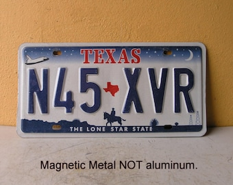 Texas Metal License Plate letter cut out diy pencil holder key ring file folder box raised letter number lone star state wall collage supply