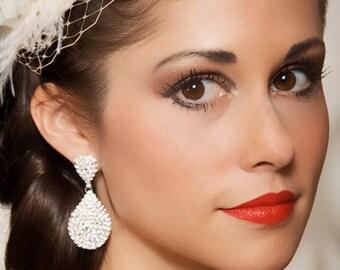 Art Deco Earrings, Bridal Earrings, Silver Pave Drop Earrings, Vintage Style Earrings, Bridesmaid Earrings, Teardrop wedding Earrings