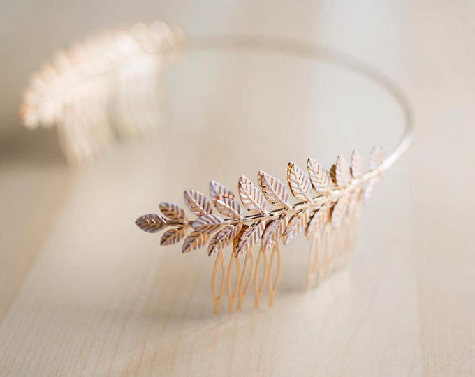 Rose Gold Headpiece, Rose Gold Leaves Art Deco Headband, Wedding Hair Accessories, Greek Leaves, Bridal Accessories, Gold Leaves Head piece