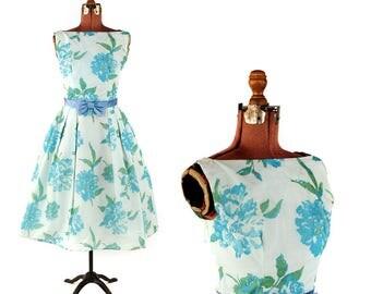 Vintage 1960's Sheer White + Blue Floral Nylon Chiffon Full Skirt Party Prom Evening Dress S