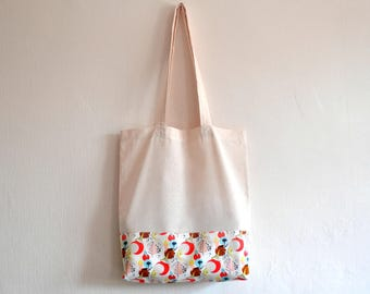 Shopper eco friendly tote market bag accent abstract nature flower print cotton zero waste produce shoulder bag in pink, aqua and yellow