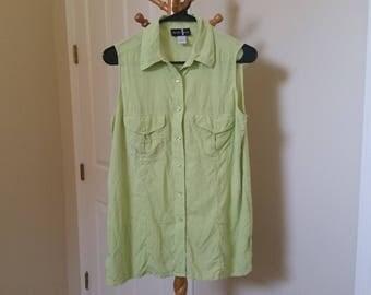 pastel goth vaporwave light lime green silk sleeveless top blouse button down XS S vintage silk blouse kawaii harajuku