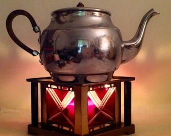 Victorian Tea Warmer Unique Diamond Shape Red Glass Cut to Clear Windows