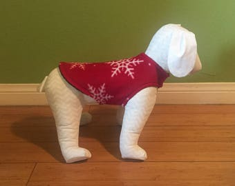Fleece Dog Coat, Extra Small, Small, or Medium Red with White Snowflakes and Black Fleece Lining