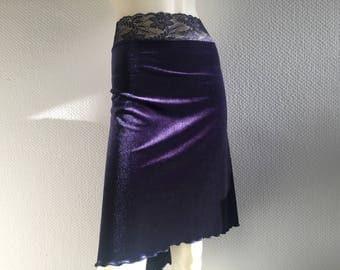 SALE Unique 2 Tone Velvet purple and midnight blue  midnight blue Rhinestone embellished Back Tango Skirt Jupe  US Size 4 and 6 EU 34/36