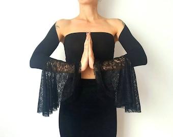 Black Velvet and Lace Shrug Goth Velvet Cardigan Bell Sleeves Festival Outfits