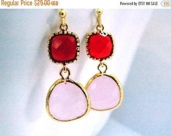 SALE Glass Earrings, Pink Earrings, Red Earrings, Valentines Day Earrings, Ruby, Soft Pink, Light Pink, Bridesmaid Earrings, Bridesmaid Gift