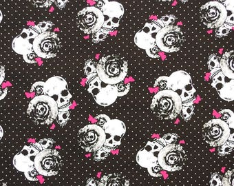 C364 - 140cmx100cm  Cotton Fabric - Skull, flower, dot and butterfly