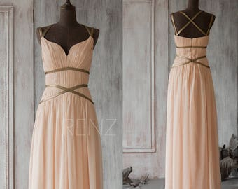 2017 Peach Bridesmaid Dress, Chiffon Prom Dress Long, Formal Dress, Criss Cross Straps Evening Dress Floor Length (F062A1)-Renzrags