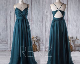 2017 Dark Turquoise Bridesmaid Dress, Open Back Wedding Dress, Spaghetti Straps Prom Dress, Long Chiffon Evening Gown Floor Length (J026)