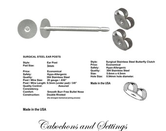 144  x 3mm Pad Earring Stud Posts & back 72 Pair Hypoallergenic Surgical Steel made in USA - AUSTRALIA