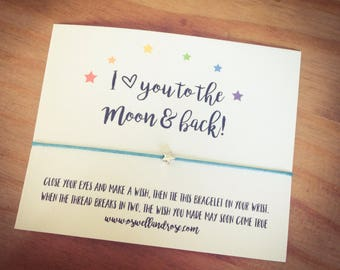I love you to the moon and back ...Wish String Bracelet...
