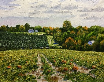 """Original Impressionist style Impasto oil painting """"View From the Pumpkin Patch""""  16x20"""