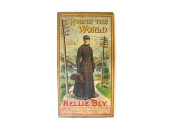 Around the World with Nellie Bly Antique Board Game 1890 McLoughlin Brothers Complete Intact Chromolith Late 19th Century Rare