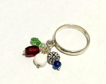 Baubling Beads Sterling Silver Dangle Charm Ring - The Flower One