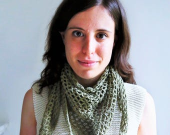 Olive green lacy shawl - hand crocheted - cotton and wool