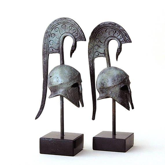 Ancient Greek Helmet with Serpent Crest, Bronze Metal Sculpture, Ancient Greece War Helmet, Collectible Art, Museum Replica