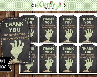 INSTANT DOWNLOAD: Zombie Thank You Tags, Zombie Tags, Zombie Favors, Zombie Party (ZO02)