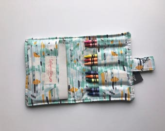 Clearance! Blue abstract print crayon wallet