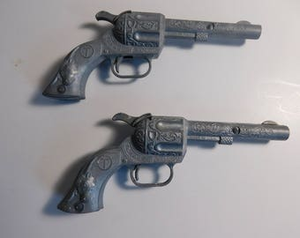 2 Vintage Diecast Toy Cap Guns, 5 1/2 Inches Long - FREE SHIPPING