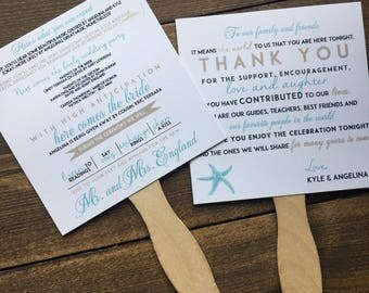 Wedding Fan Programs - Fun Wedding Ceremony Program - Front and Back - Thank You